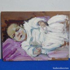 Arte: ÓLEO SOBRE TABLA DE NIÑO CON CHUPETE.GRAN CALIDAD.. Lote 199961860