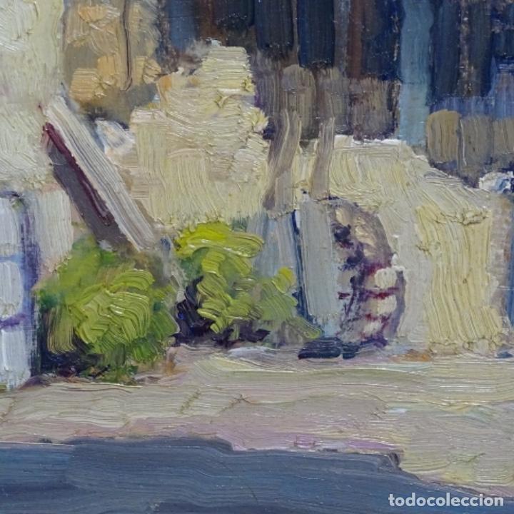 Arte: Excelente óleo anónimo sobre tabla circulo mir.buen trazo.maestro. - Foto 5 - 199977837