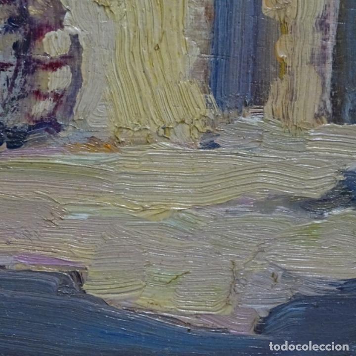 Arte: Excelente óleo anónimo sobre tabla circulo mir.buen trazo.maestro. - Foto 9 - 199977837