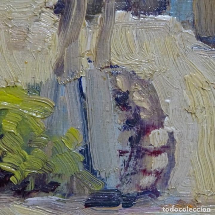 Arte: Excelente óleo anónimo sobre tabla circulo mir.buen trazo.maestro. - Foto 11 - 199977837