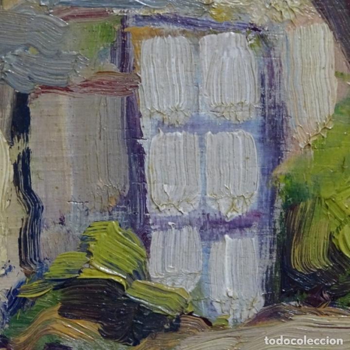 Arte: Excelente óleo anónimo sobre tabla circulo mir.buen trazo.maestro. - Foto 15 - 199977837