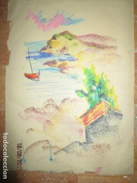 ANTIGUO DIBUJO AL PASTEL MARINA CON BARCAS AÑOS 30 MEDIDAS 45 X 30 CMS (Arte - Pintura - Pintura al Óleo Contemporánea )