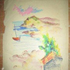 Arte: ANTIGUO DIBUJO AL PASTEL MARINA CON BARCAS AÑOS 30 MEDIDAS 45 X 30 CMS. Lote 200003961