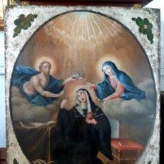 Arte: LA CORONACIÓN DE SANTA GERTRUDIS. ÓLEO SOBRE TABLA DEL SIGLO XVIII. Lote 200051198