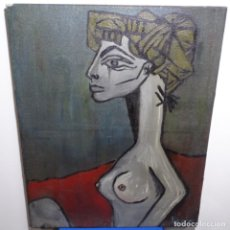Arte: ÓLEO REENTELADO MUY ANTIGUO FIRMADO VICO.JACQUELINE DE PICASSO.. Lote 200079142