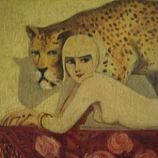 Arte: SIGLO XIX - ANTIGUO CUADRO ÓLEO GENUÍNO ART DECÓ - DAMA DESNUDA, LEOPARDO Y MANTON - G.SAVEY C1900 -. Lote 200133051