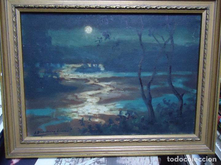 ÓLEO DE FERNÁNDEZ SÁNCHEZ 1953 DEDICADO MIDE 41X31 CM. CON MARCO TIENE UNA DEDICATORIA EN LA TRASE (Arte - Pintura - Pintura al Óleo Moderna siglo XIX)