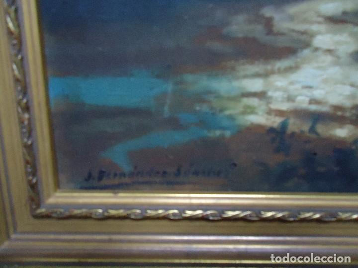 Arte: Óleo de Fernández Sánchez 1953 dedicado mide 41x31 cm. con marco tiene una dedicatoria en la trase - Foto 3 - 200140427