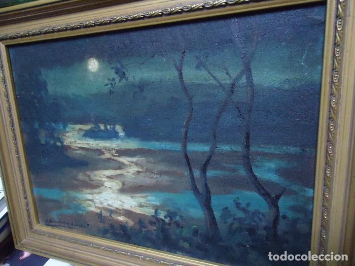 Arte: Óleo de Fernández Sánchez 1953 dedicado mide 41x31 cm. con marco tiene una dedicatoria en la trase - Foto 4 - 200140427