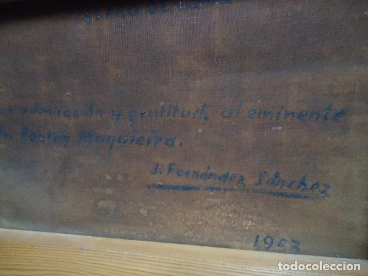 Arte: Óleo de Fernández Sánchez 1953 dedicado mide 41x31 cm. con marco tiene una dedicatoria en la trase - Foto 6 - 200140427