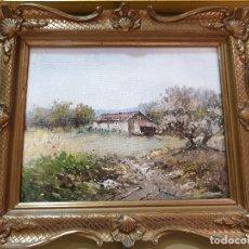 Arte: BONITO PAISAJE CON MARCO DORADO Y TALLADO. FIRMADO EN LA ESQUINA INFERIOR DERECHA.. Lote 200165345