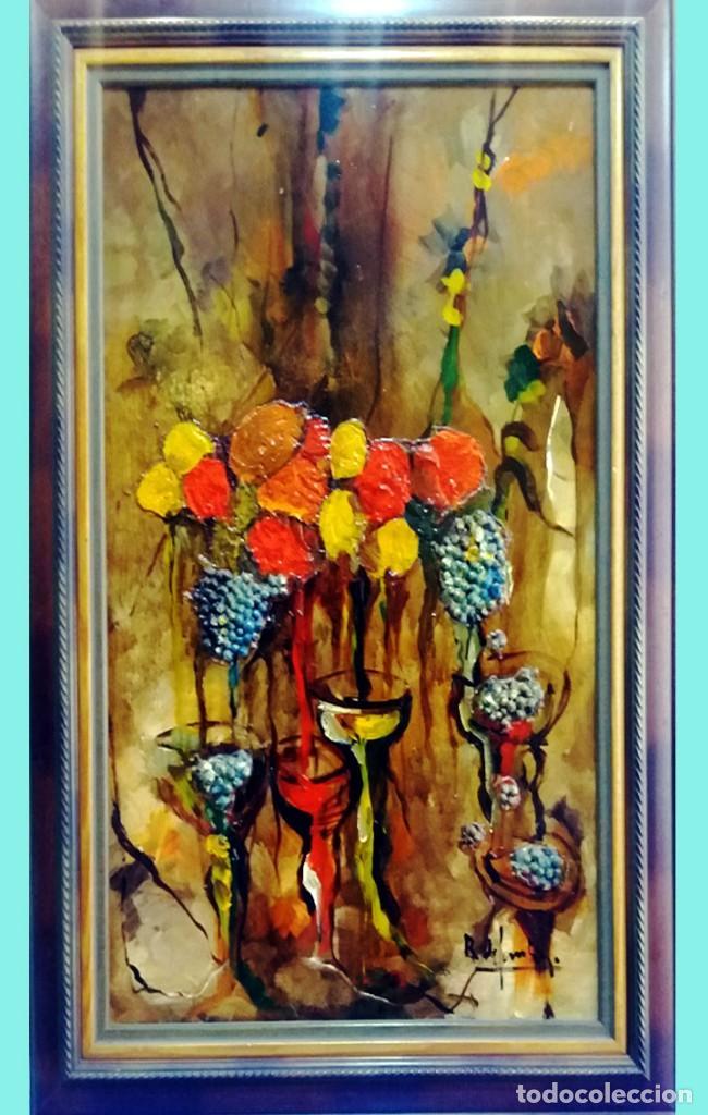 ROSENDO DE SANTIAGO GALLARDO (C.REAL 1936-2013).COPAS.OLEO S/TABLEX TECNICA MIXTA. FDO. 70 X 55 CM. (Arte - Pintura Directa del Autor)