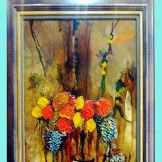 Arte: ROSENDO DE SANTIAGO GALLARDO (C.REAL 1936-2013).COPAS.OLEO S/TABLEX TECNICA MIXTA. FDO. 70 X 55 CM.. Lote 200243902