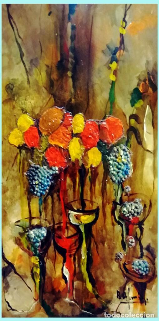 Arte: ROSENDO DE SANTIAGO GALLARDO (C.Real 1936-2013).COPAS.OLEO S/TABLEX TECNICA MIXTA. Fdo. 70 X 55 cm. - Foto 2 - 200243902