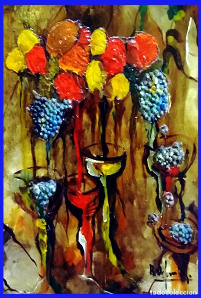Arte: ROSENDO DE SANTIAGO GALLARDO (C.Real 1936-2013).COPAS.OLEO S/TABLEX TECNICA MIXTA. Fdo. 70 X 55 cm. - Foto 3 - 200243902