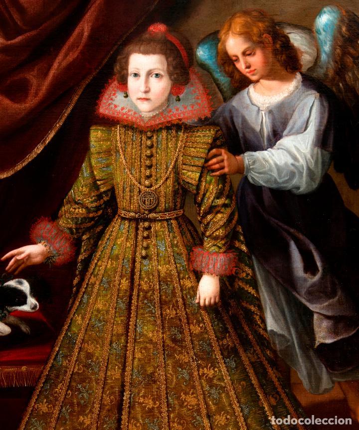 Arte: Retrato Infanta con ángel guarda óleo lienzo reentelado escuela madrileña principio siglo XVII - Foto 2 - 200328255