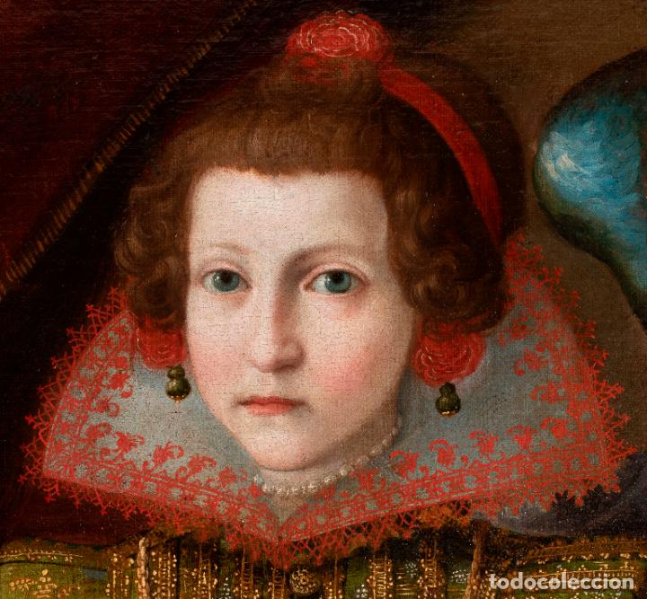 Arte: Retrato Infanta con ángel guarda óleo lienzo reentelado escuela madrileña principio siglo XVII - Foto 3 - 200328255