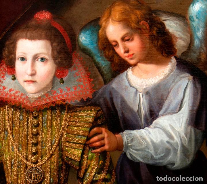 Arte: Retrato Infanta con ángel guarda óleo lienzo reentelado escuela madrileña principio siglo XVII - Foto 4 - 200328255