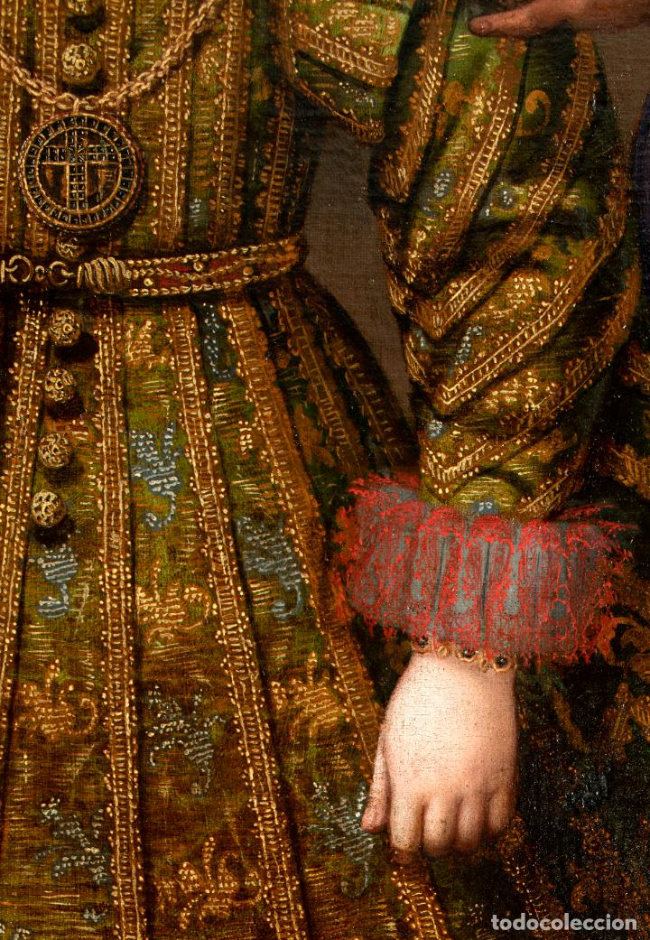 Arte: Retrato Infanta con ángel guarda óleo lienzo reentelado escuela madrileña principio siglo XVII - Foto 5 - 200328255
