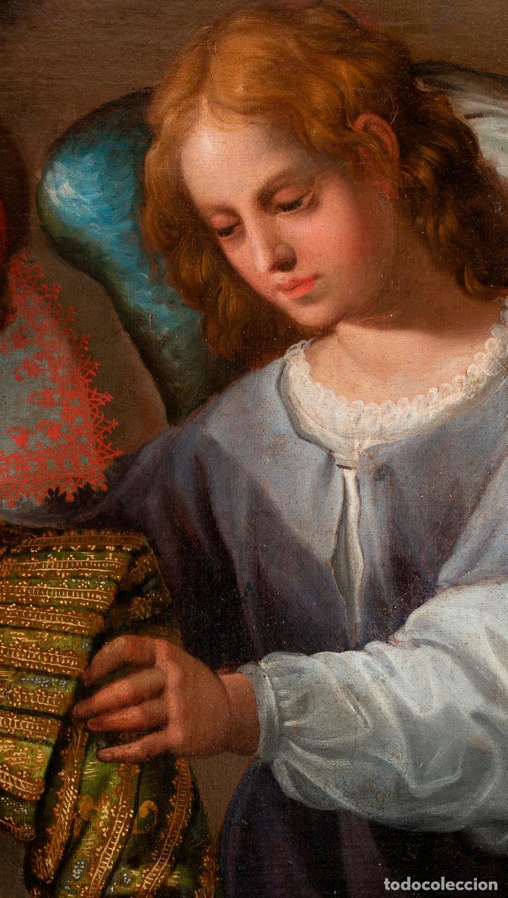 Arte: Retrato Infanta con ángel guarda óleo lienzo reentelado escuela madrileña principio siglo XVII - Foto 7 - 200328255