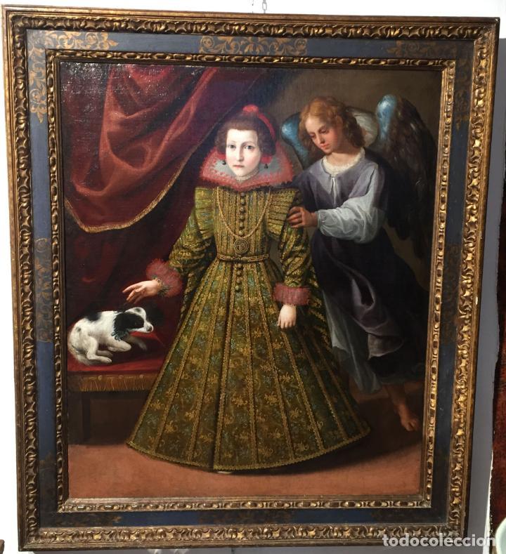 Arte: Retrato Infanta con ángel guarda óleo lienzo reentelado escuela madrileña principio siglo XVII - Foto 9 - 200328255
