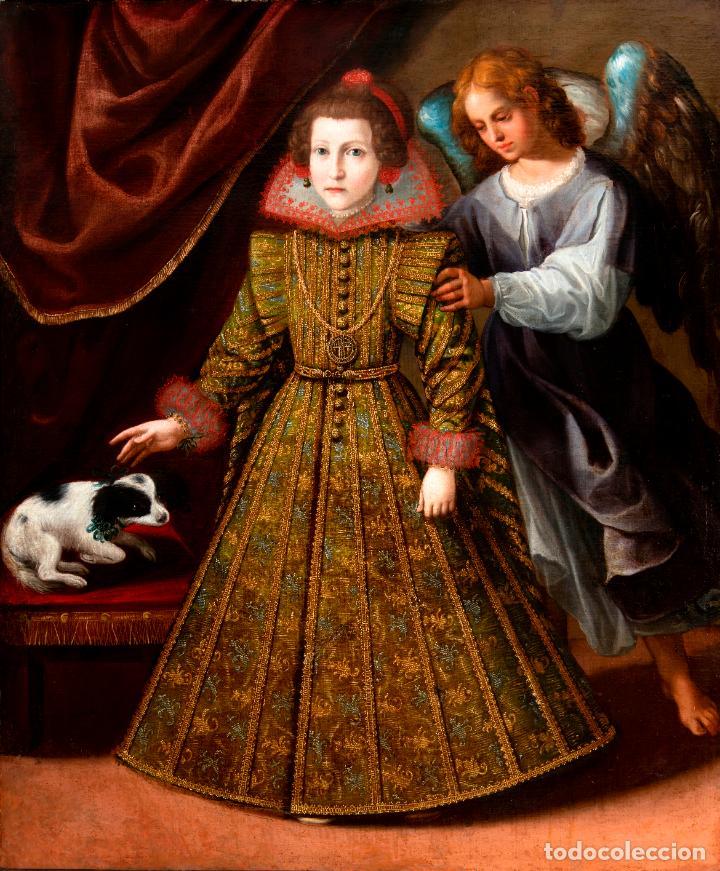 RETRATO INFANTA CON ÁNGEL GUARDA ÓLEO LIENZO REENTELADO ESCUELA MADRILEÑA PRINCIPIO SIGLO XVII (Arte - Pintura - Pintura al Óleo Antigua siglo XVII)