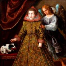 Arte: RETRATO INFANTA CON ÁNGEL GUARDA ÓLEO LIENZO REENTELADO ESCUELA MADRILEÑA PRINCIPIO SIGLO XVII. Lote 200328255