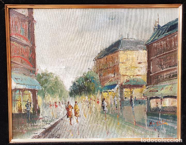 Arte: Rua francesa. Pincelada impresionista. Importante paisaje urbano enmarcado. Óleo sobre lienzo. - Foto 2 - 200337077