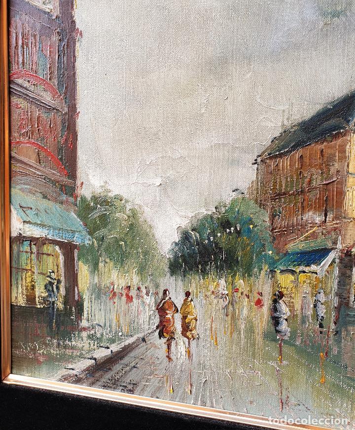 Arte: Rua francesa. Pincelada impresionista. Importante paisaje urbano enmarcado. Óleo sobre lienzo. - Foto 4 - 200337077