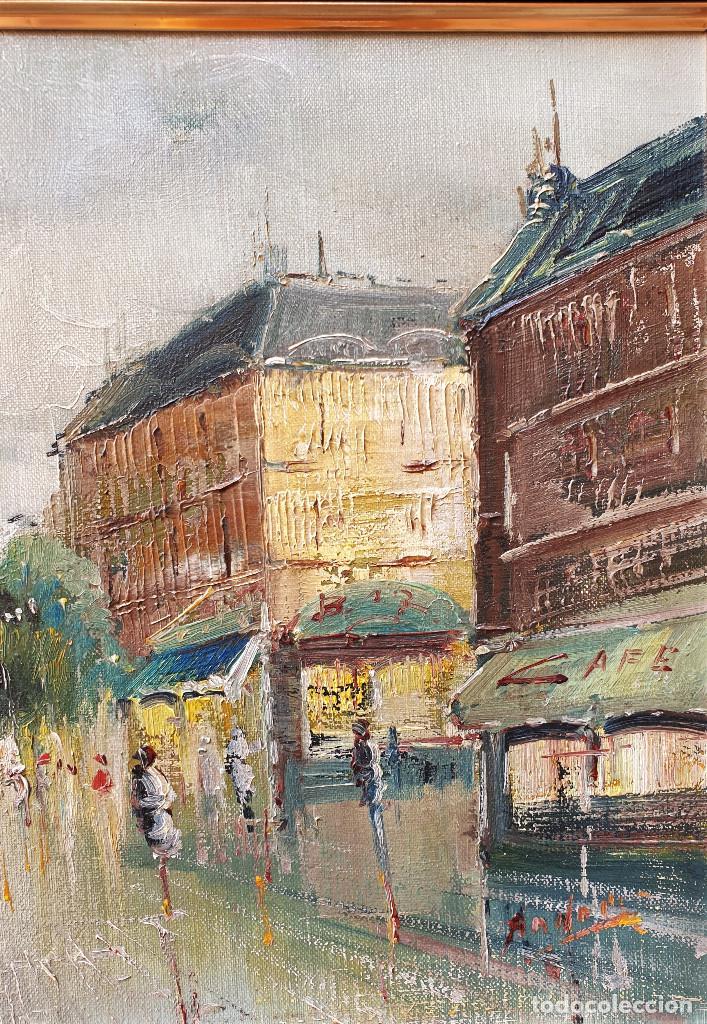 Arte: Rua francesa. Pincelada impresionista. Importante paisaje urbano enmarcado. Óleo sobre lienzo. - Foto 5 - 200337077