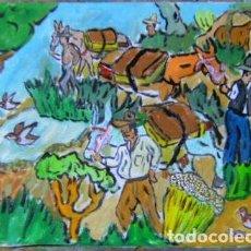 Arte: GRANADA.-LOS NEVEROS LLEVAN LA NIEVE A GRANADA, ÓLEO LIENZO 29,7X42 AUTOR CRESPO. Lote 200372106
