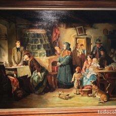 Arte: EDUARD KURZBAUER (VIENNA 1840-1879 MUNICH). MAL DE AMORES. ÓLEO SOBRE LIENZO. OBRA IMPORTANTE.. Lote 200390705