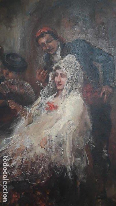 Arte: magnifico oleo sobre lienzo,francisco moles siglo xix-xx, pintor andaluz,buen tamaño - Foto 3 - 200394402