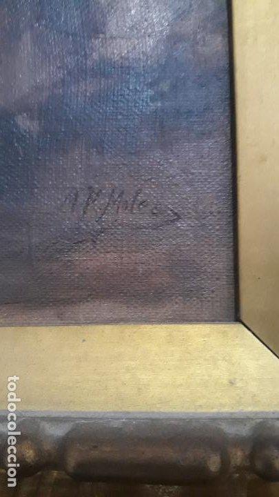 Arte: magnifico oleo sobre lienzo,francisco moles siglo xix-xx, pintor andaluz,buen tamaño - Foto 6 - 200394402