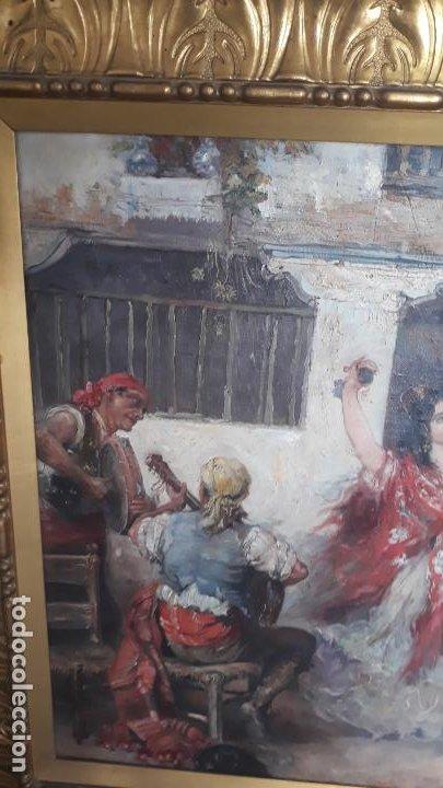 Arte: magnifico oleo sobre lienzo,francisco moles siglo xix-xx, pintor andaluz,buen tamaño - Foto 9 - 200394402