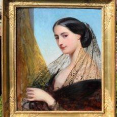 Arte: IMPRESIONANTE OLEO DUQUESA ALBA DE FRANZ XAVER WINTERHALTER (1805-1873) S. XIX. Lote 200401658