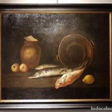 Arte: CIRCULO DE GIUSEPPE RECCO. NATURALEZA MUERTA CON PESCADOS , FRUTAS Y CACHARROS. Lote 200648735