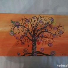 Arte: CUADRO AL OLEO (60X30CM) CON MÁS TÉCNICAS, ÁRBOL DE LA VIDA. Lote 200733206