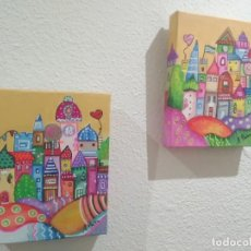 Arte: PAREJA DE CUADROS AL ÓLEO (18X24CM) CON DOBLE BASTIDOR PINTADO EN 3D, ESTILO NAIF. Lote 200739656