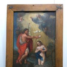 Arte: MUY BELLO ÓLEO SOBRE CHAPA. BAUTISMO DE CRISTO. ESCUELA ANDALUZA. SIGLO XVII/PPOS. XVIII. Lote 200754828
