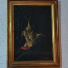 Arte: CURIOSO Y MUY ANTIGUO CUADRO OLEO SOBRE LIENZO FIRMADO POR CAYETANO MENDOZA. Lote 200792998
