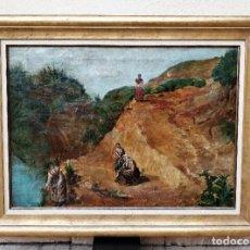 Arte: MUJERES EN EL RÍO. ÓLEO SOBRE LIENZO. SUBIDA A LA FUENTE EL SOL (VALLADOLID). FIRMADO: P. COLLADO.. Lote 200809048