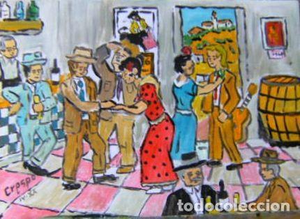 DICIENDO LA BUENAVENTURA.-ÓLEO LIENZO SIN BASTIDOR ,297X42 CM. DE CRESPO (Arte - Pintura - Pintura al Óleo Contemporánea )