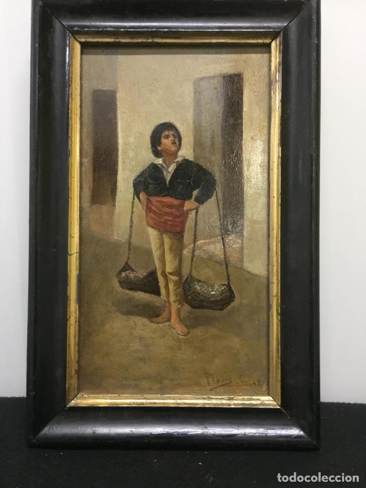 "Arte: Óleo costumbrista sobre tabla siglo XIX. ""El Cenachero"" Fdo.Jose Flores y Vela - Foto 2 - 200858498"