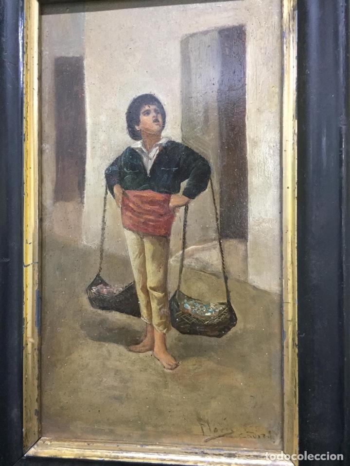 "Arte: Óleo costumbrista sobre tabla siglo XIX. ""El Cenachero"" Fdo.Jose Flores y Vela - Foto 3 - 200858498"
