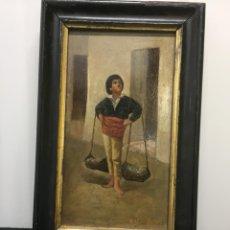 """Arte: ÓLEO COSTUMBRISTA SOBRE TABLA SIGLO XIX. """"EL CENACHERO"""" FDO.JOSE FLORES Y VELA. Lote 200858498"""