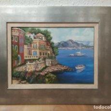 Arte: CUADRO AL ÓLEO (69X55CM) CON DOBLE MARCO, PAISAJE COSTERO. Lote 201088635