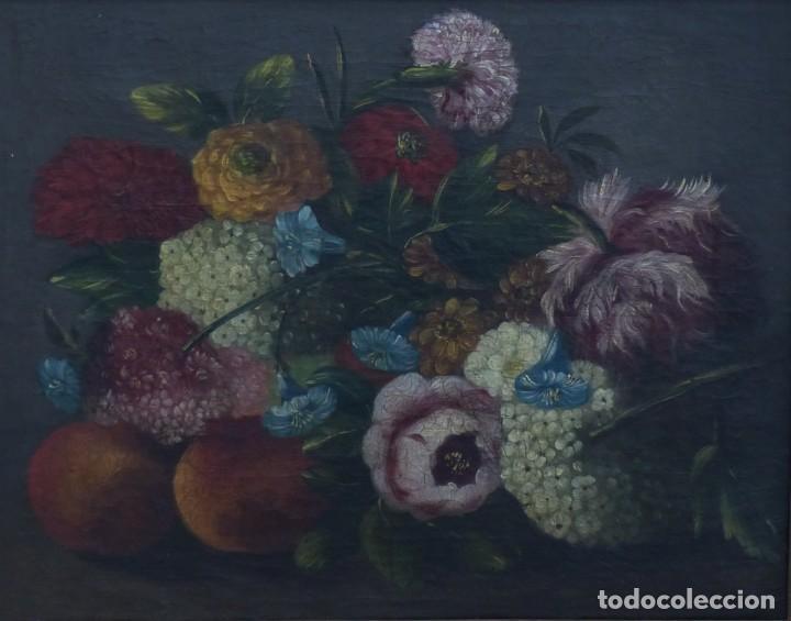 BODEGÓN DE GRANADAS Y FLORES - SIGLO XVIII - 41 X 53 CM - GRAN CALIDAD. (Arte - Pintura - Pintura al Óleo Antigua siglo XVIII)