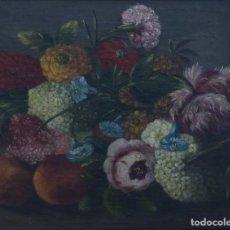 Arte: BODEGÓN DE GRANADAS Y FLORES - SIGLO XVIII - 41 X 53 CM - GRAN CALIDAD.. Lote 201140586