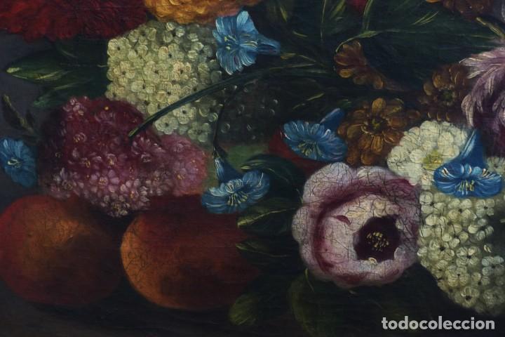 Arte: BODEGÓN DE GRANADAS Y FLORES - SIGLO XVIII - 41 X 53 CM - GRAN CALIDAD. - Foto 3 - 201140586